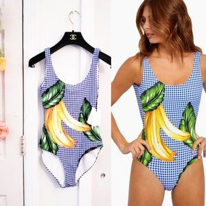 NWT $195 ONIA Anthro Gingham One Piece Swimsuit